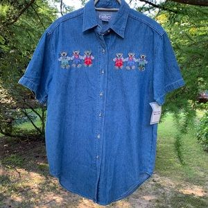 Vintage • NWT Teddy Bear Chambray Top Deadstock